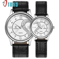 Creative 1 Pair/2pc Best Gift Watches For Lovers Ultrathin Genuine Leather Romantic Fashion Couple Wrist Watches