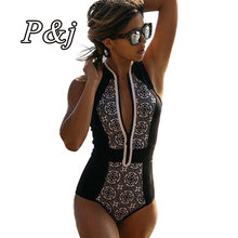 58e156ff96a P&j one piece swimsuits black with white lace size deep V Design Women  Swimwear Padded Bra Bathing Suit New