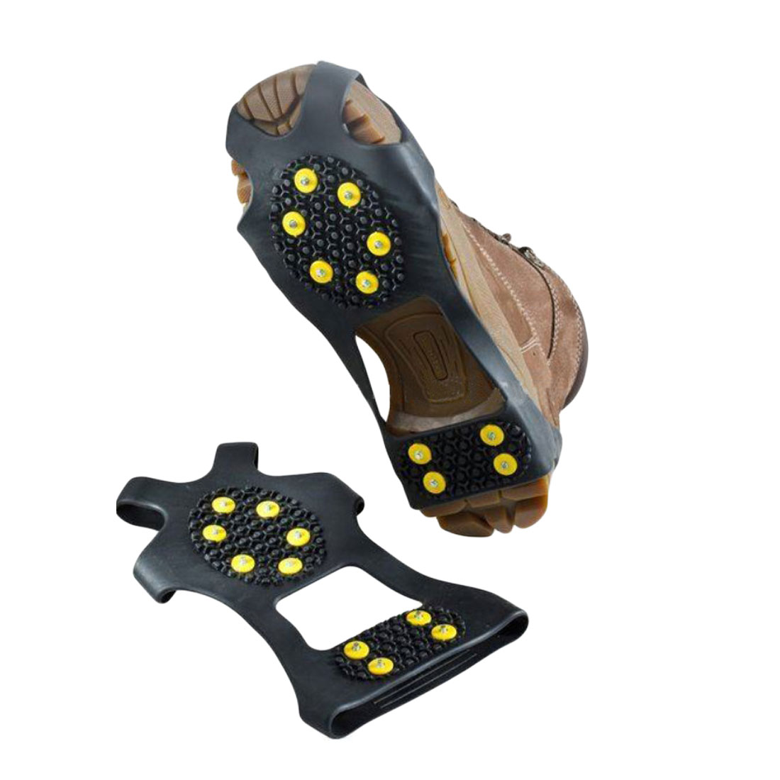 3 Size 10 Studs Anti-Skid Ice Winter Climbing Non-Slip Snow Shoes Spikes Grips Cleats Over Shoes Covers Crampons Snowboard Shoes