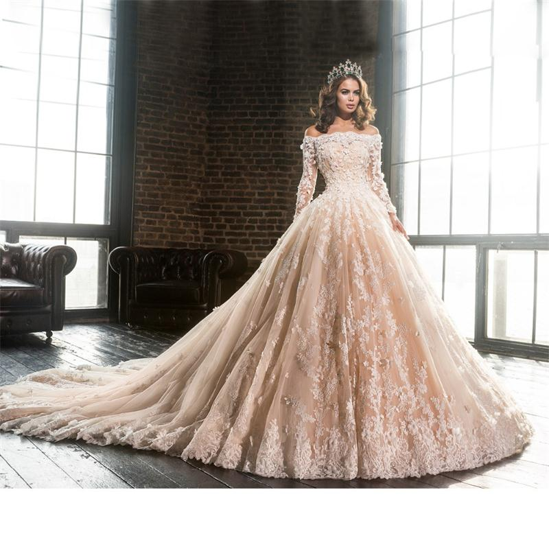 Champagne Lace Wedding Gown: 2017 Off The Shoulder Flower Lace Champagne Ball Gown