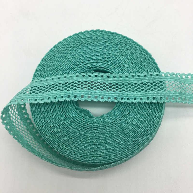 """5 Yards/lô 5/8 """"15mm Cyan Song Phương Ren Lưới Fold Over Đàn Hồi Spandex Ren Ribbon"""