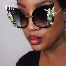 376a1f9be51abf AIC 2018 Mode Vintage Carré Cat Eye Femmes Surdimensionné Léopard lunettes  de Soleil Dame Sexy Élégant Lunettes de Soleil En Mét..