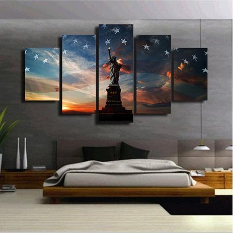 liberty flag multi panel canvas wall art print oil paintings wall