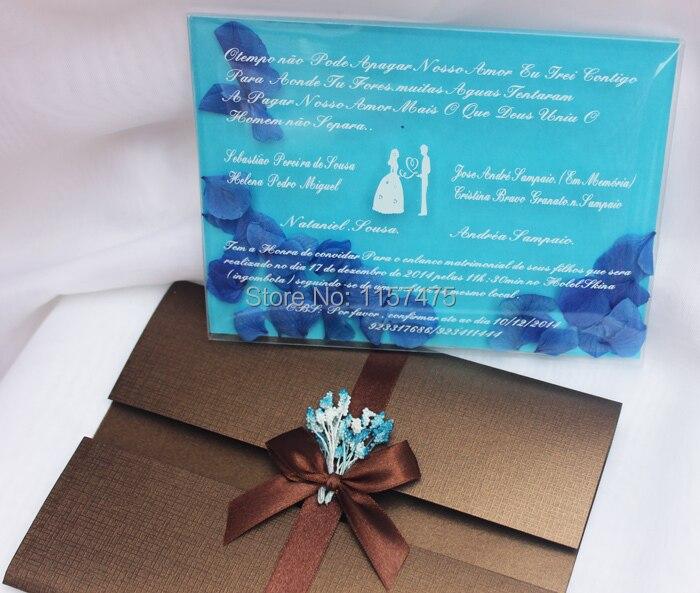 255 59 Hi1085 Tarjetas De Invitación De Boda De Pvc Románticas únicas Con Pétalos De Flores In Tarjetas E Invitaciones From Hogar Y Mascotas On