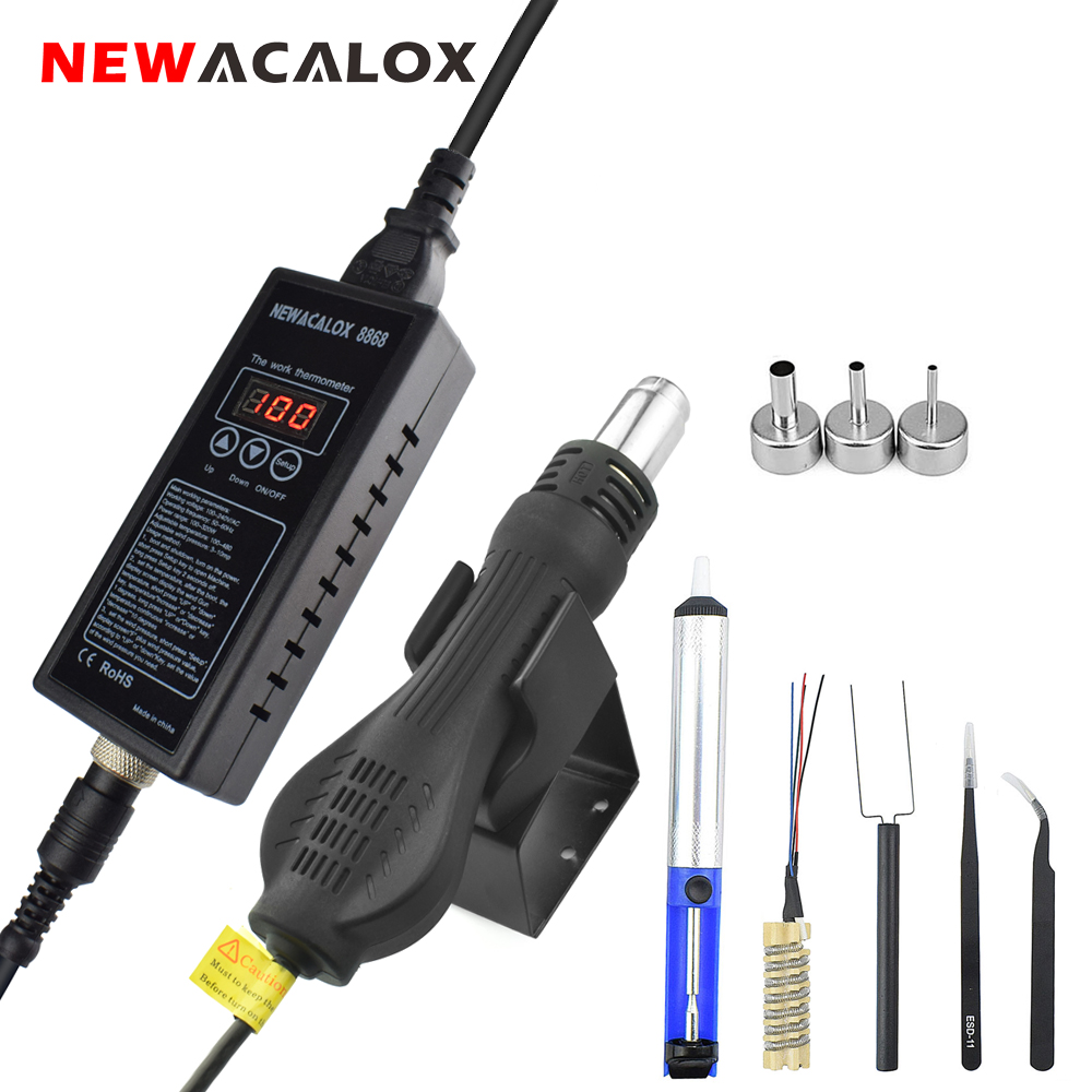 NEWACALOX 220V 8868 Portable Digital BGA Rework Soldering Station Kit 650W Hot Air Blower Heat Gun Electric Welding Tool 1pcs 2000w electric hot air blower heat welding gun pistol soldering rework station with temperature adjust