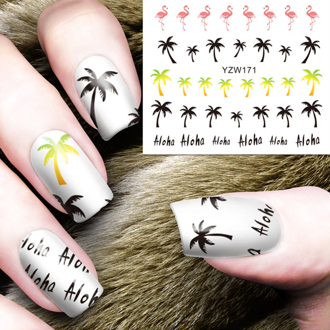 1PC Hawaii Style Coconut Tree Finger Wraps Tools Palm Flamingo Water Transfer Nail Stickers Manicure Nail Art Water Decals t new nail art flower stickers decals water transfer wraps decorations manicure care tools