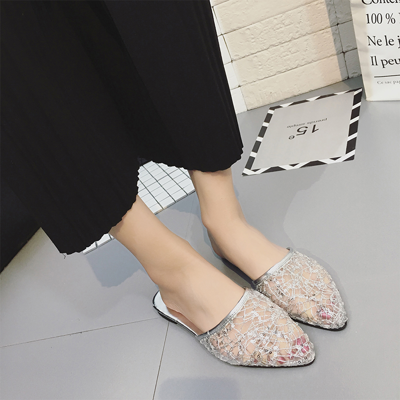 MCCKLE Transparent Slippers Low Heel Summer Slides For Women Mules Mesh Female Shoes Glitter Ladies Pointed Toe Outdoor Slipper