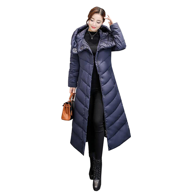 198bdc8f3c7 2018 New Women Down Jackets Slim Winter Parka High Quality Hooded X-Long  Jacket Female Thick Warm White Duck Down Coat Plus size