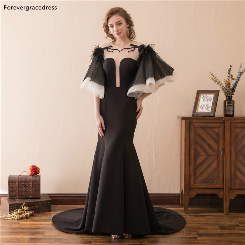 US $103.02 49% OFF|Forevergracedress Black Evening Dresses 2019 New Design  Feather Jewel Neck Formal Party Gowns Plus Size Custom Made-in Evening ...