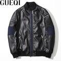 GUEQI Denim Patchwork Homens Jackets Plus Size M-3XL Preto Lavado PU Outerwear De Couro 2017 Homem Casual Casacos
