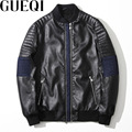 GUEQI Denim Patchwork Men Black Jackets Plus Size M-3XL Washed PU Leather Outerwear 2017 Man Casual Coats
