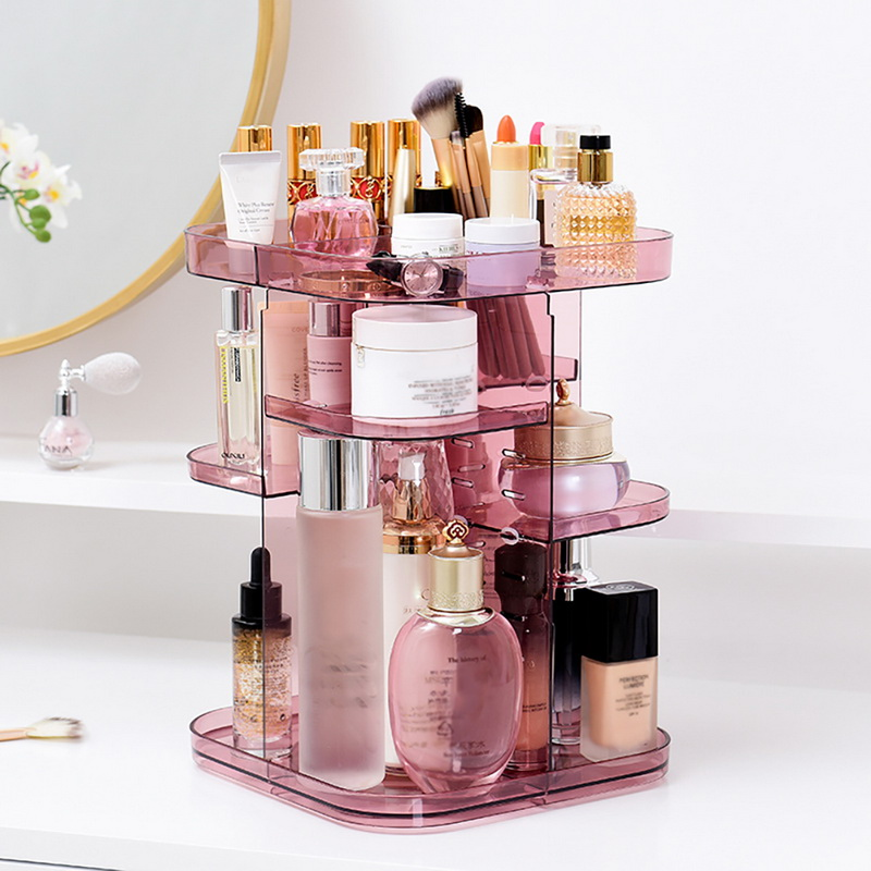 Image 3 - 1PC Fashion 360 degree Rotating Makeup Organizer Box Brush Holder Jewelry Organizer Case Jewelry Makeup Cosmetic Storage Box-in Storage Boxes & Bins from Home & Garden