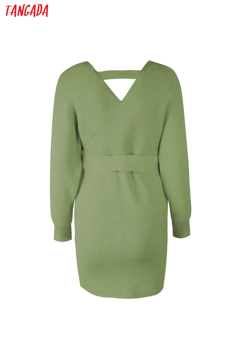 Tangada women dress 19 knitted mini dress autumn winter ladies sexy green sweater dress long sleeve vintage korean ADY08 19