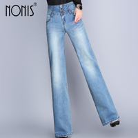 Nonis Women Loose Trouser Elastic Jeans Wide Leg High Waist Casual Boot Cut Flares Femme Pantalon Autumn Full length Three color