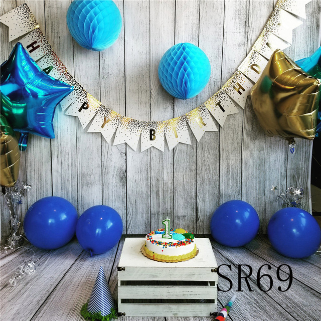 Happy Baby 1 Year Old Birthday Cake Balloon Photography Backdrops Wood Party Wall Decoration Background Props For Photo Studio