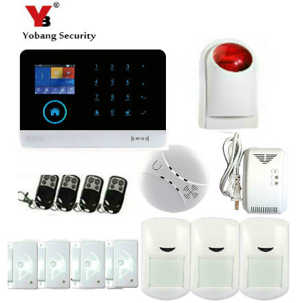 YobangSecurity Wireless WiFI Home Alarm System Android IOS APP GSM GPRS Alarm System with Smoke Detector Wireless Strobe Siren yobangsecurity wifi gsm gprs home security alarm system android ios app control door window pir sensor wireless smoke detector