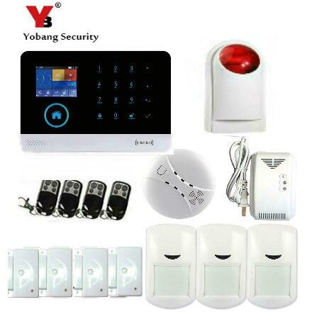 YobangSecurity Wireless WiFI Home Alarm System Android IOS APP GSM GPRS Alarm System with Smoke Detector Wireless Strobe Siren