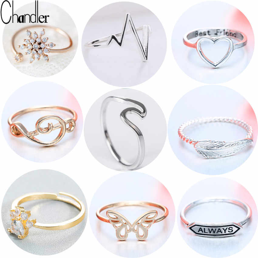 Chandler Brand Best Friends Love Shape Ring Anel Feminino Mid Finger Knuckle Toe Bague Friendship Eternal Forever Best Gifts