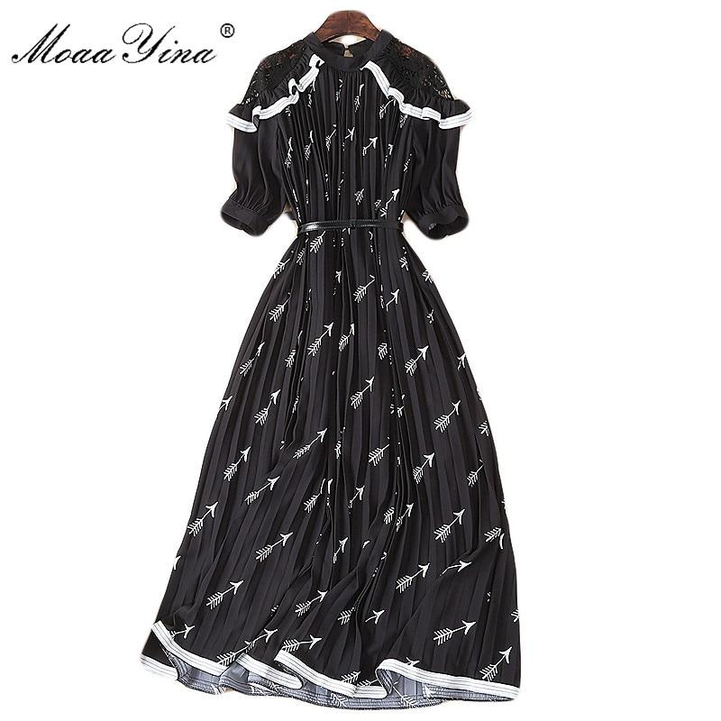 MoaaYina Fashion Designer Runway Dress Summer Women dress Lace Ruffles Short sleeve Print Pleated Black Elegant