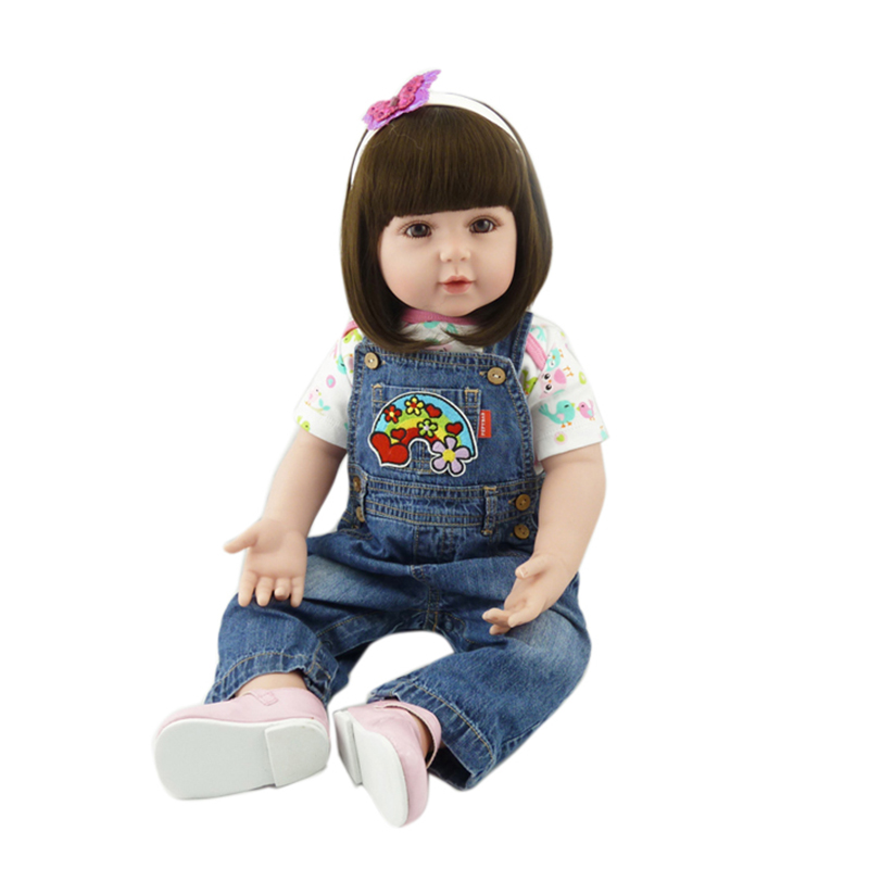 """Pursue 24""""/60 cm Denim Overalls Girls Renorn Babies Toddler Baby Toys Curly Brown Long Hair Like Real Holiday Presents For Child"""