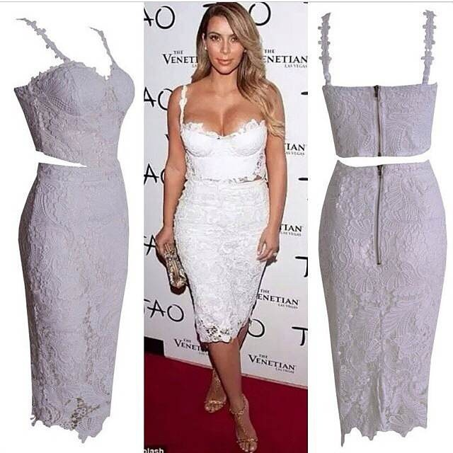 79eff22d9445 2014 HotCelebrity white lace bodycon midi dress bustier crop top maxi dress  two-piece Dress Party Celebrity Dresses
