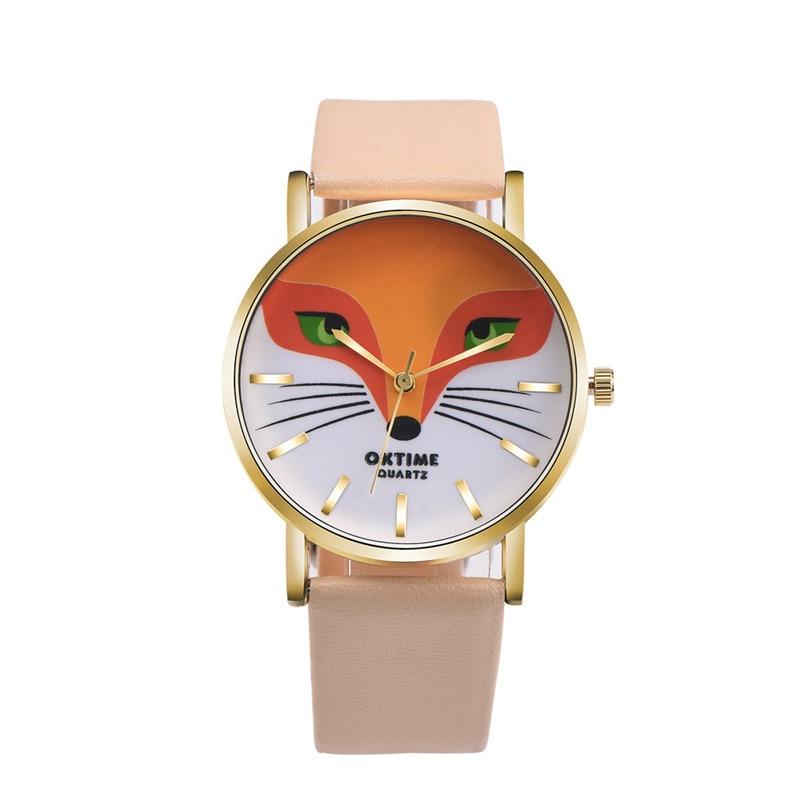 Women s watches Relogio feminino Retro Cartoon Fox Design Leather Band Analog Alloy Analog Quart