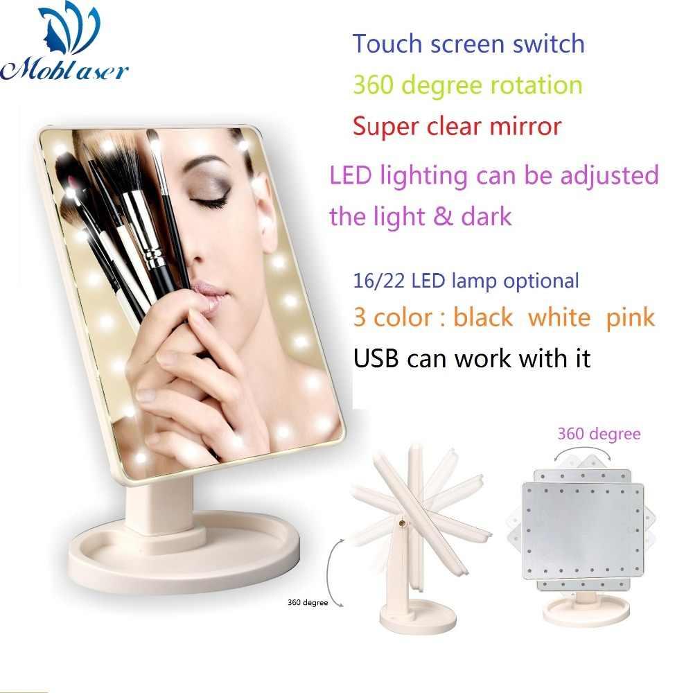 USB مرآة لوضع مساحيق التجميل مشرق صغير للطي راديو صغير محمول LED أضواء مرآة ماكياج أداة 360 درجة دوران شاشة تعمل باللمس