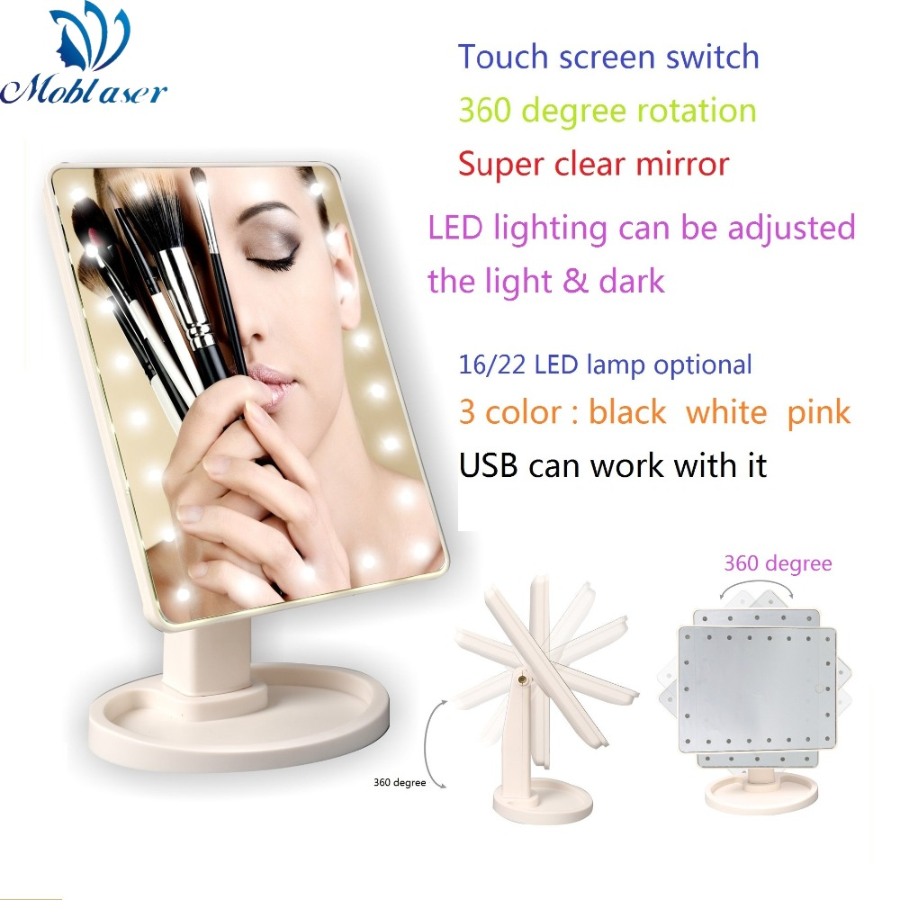 USB Maquillage Miroir Lumineux Petit Pliage Portable Compact de Poche LED Lumières Miroir Maquillage Outil 360 Degrés Rotation Écran Tactile
