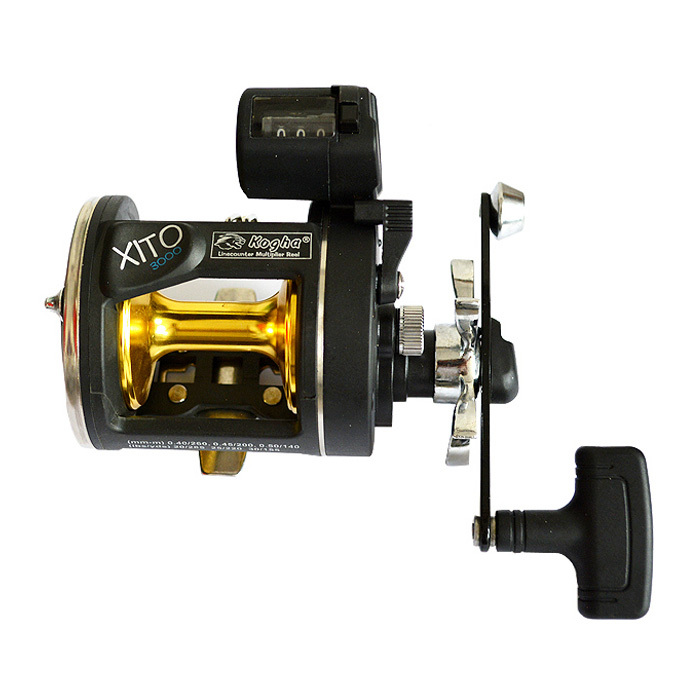 4BB 3.8:1 Boat Fishing Reel Trolling Reels With Electric Count Wheel Big Game Fish Wheel Bait Casting Drum Right trolling reel 9 1bb drum wheel carp baitcasting reels centrifugal brake casting saltwater fishing reel super power drag 30kg
