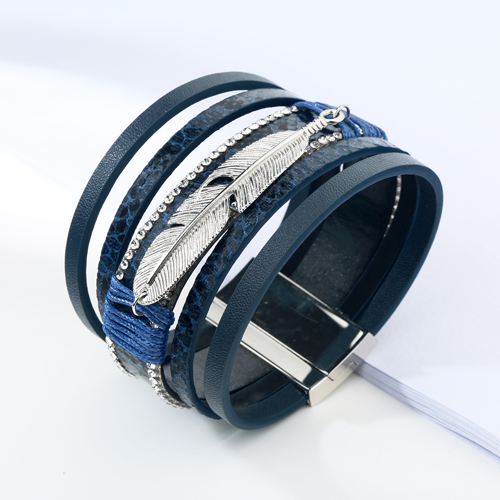 17 Fashion Alloy Feather Leaf Wide Magnetic Leather Bracelets & Bangles Multilayer Wrap Bracelets for Women Men Jewelry 4