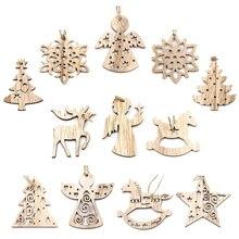 1Set Christmas Wooden Pendant Snowflakes Deer Tree Ornaments Xmas Tree Ornaments Christmas Wedding Party Decorations Kids