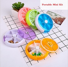 Mini cute suitcase round 7 sub-grid button rotating medicine box portable one week packing kit