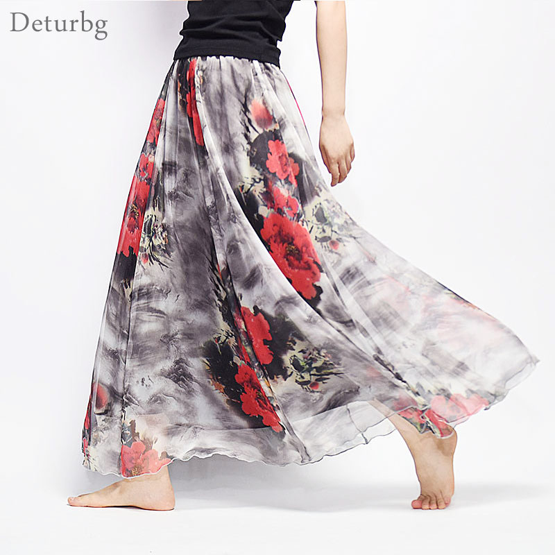 Women Fashion Florals Print Long Skirt Female Boho Style Elastic High Waist Chiffon Casual Beach Skirts Saias 19 Color Summer