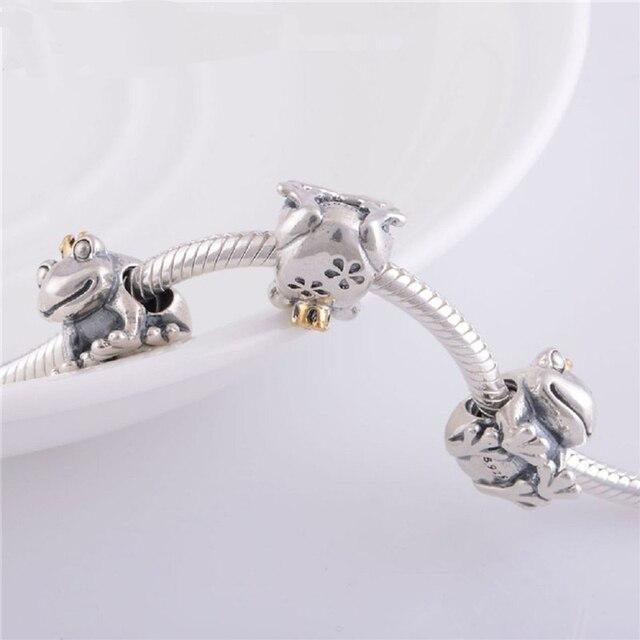 Pandulaso authentic 925 sterling silver animale placcato oro crown prince frog fascini perline per fare gioielli braccialetti di fascino misura