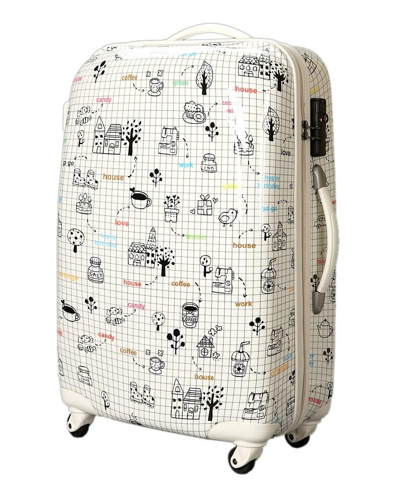 KUNDUI 2016 New men suitcase fashion cartoon font b women b font universal wheels travel trolley