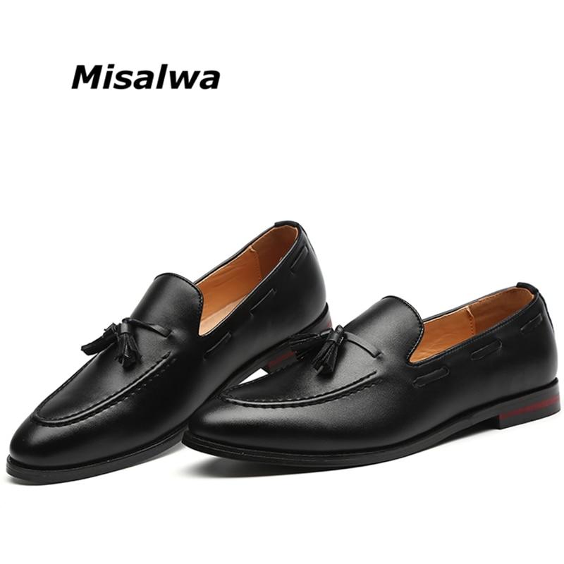a0ea61790bb Cheap Misalwa hombres zapatos de cuero casuales de lujo Caballero borlas  Oxfords zapatos de conducción hombres