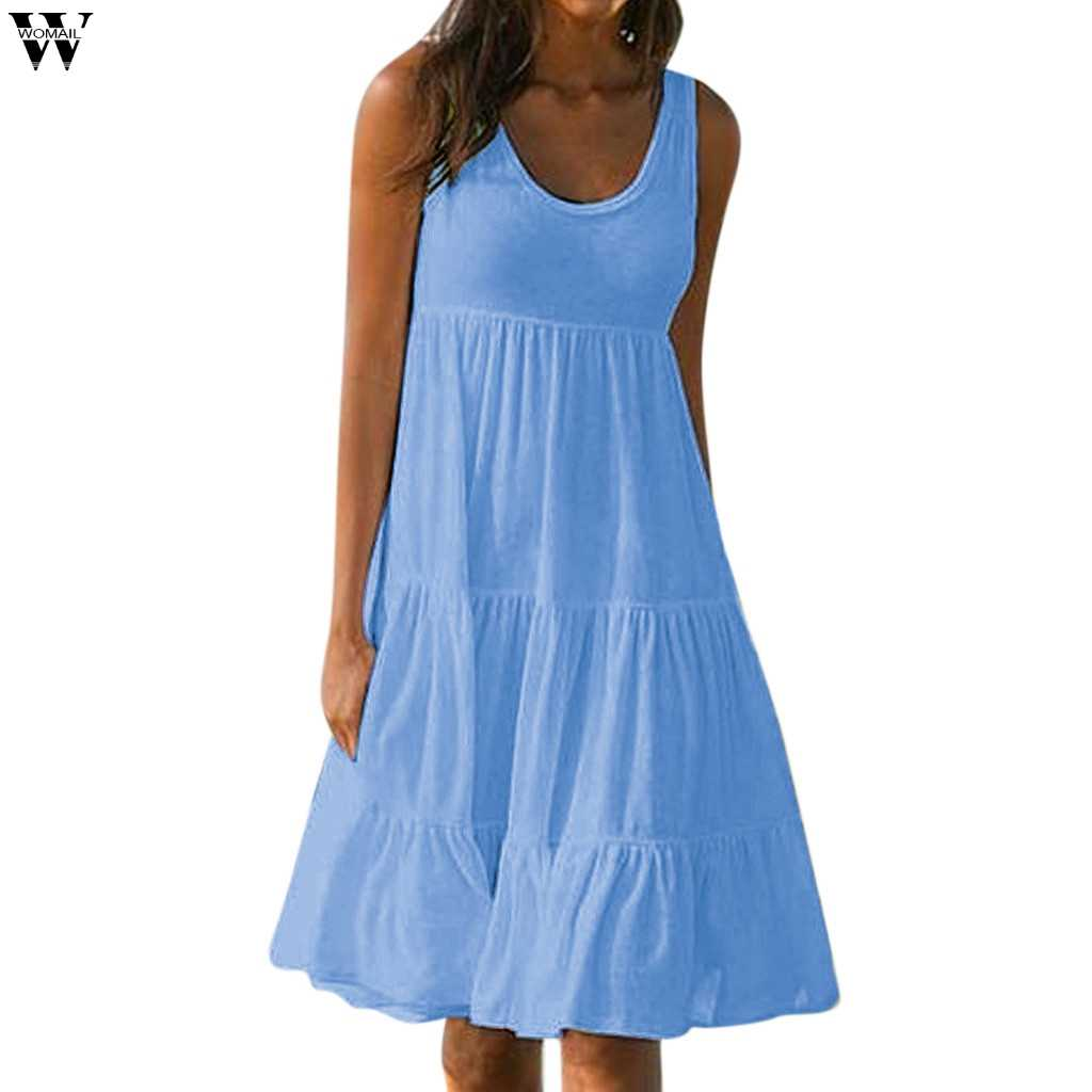 2019 summer cotton dress women tunic O neck short sleeve pink midi dresses  casual vestidos female  Apr22