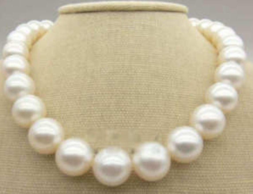 Offre spéciale nouveau Style>>>>> 12-14 MM AAA + mer du sud collier de perles blanches 17