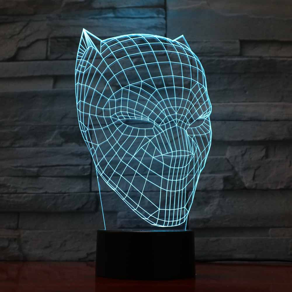 3D LED Black Panther Night Light USB Touch Luminous Super Hero Desk Lamp Kids Bedroom Sleep Lighting Fixture Home Decor Dropship