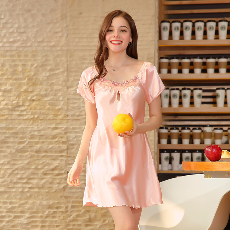 SSH0183 Satin Silk   Nightgown     Sleepshirt   Lady Summer Short Sleeve Nightwear Sexy Women Sleepwear Plus Size Female Lingerie Pyjama