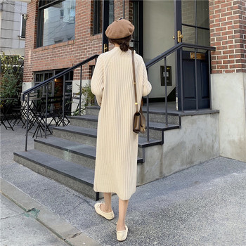 Women Winter basic Long Sweater Dress Turtleneck long sleeve Elegant solid color brief slim Knitted dresses pullovers 5