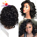 Short Wave Bob Wigs Fashion Hair Wig For Women Cheap Synthetic Lace Front Wig With Bangs Loose Wave Heat Resistant Free Shipping