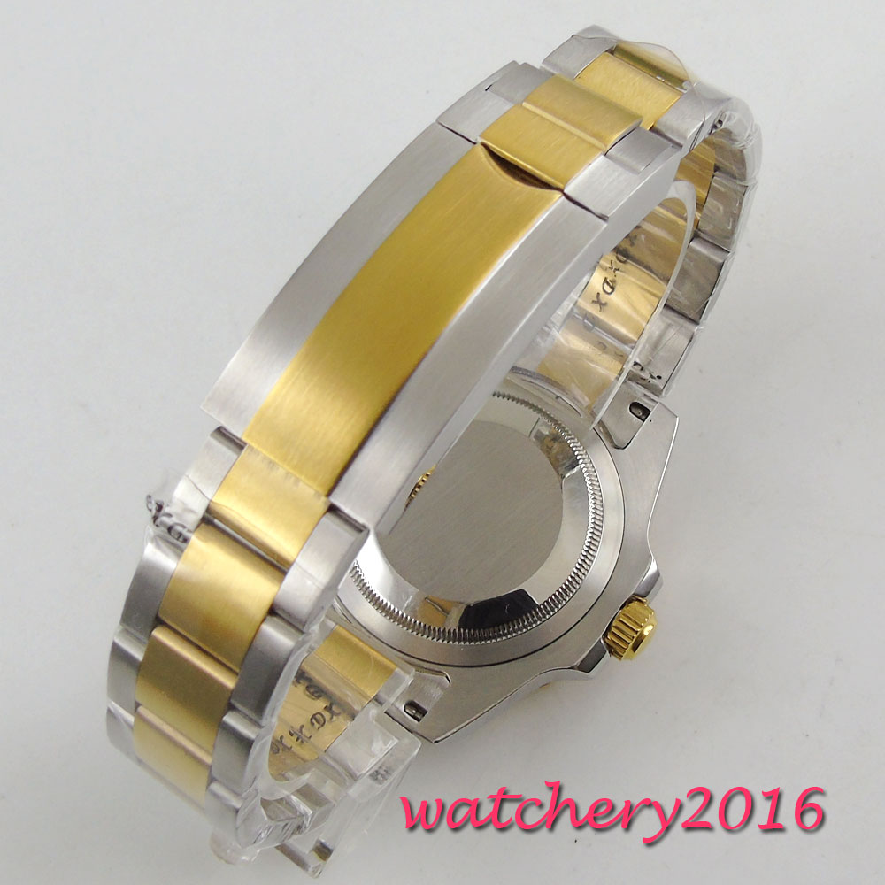 40mm Bliger sterile Dial ceramic Bezel Deployment Sapphire Glass Luminous Marks Date Window GMT Automatic Mechancial Mens Watch in Mechanical Watches from Watches