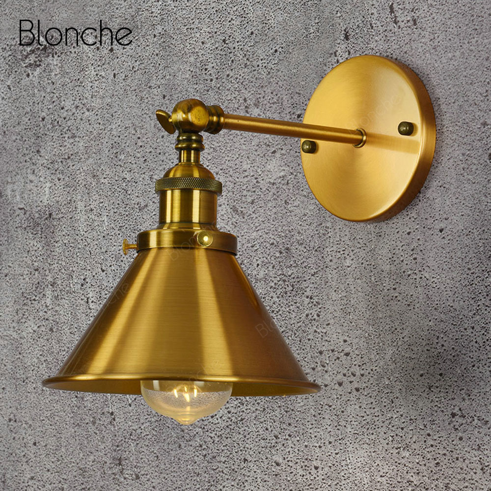 Industrial Gold Wall Lamp Vintage E27 Wall Light Fixtures for Home Indoor Loft Decor Kitchen Bedroom Living Room Nordic Sconce