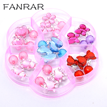Фотография 7pair color crystal children jewelry baby girl Earrings kids pink Jelly beads ear clip on Pierced Earrings Jewelry Party Gifts