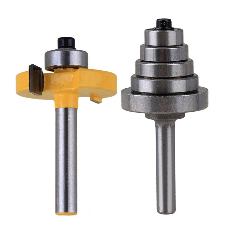 2pcs/set High Quality Cemented Carbide Rabbet Router Bite 1/4 Shank with 6 Bearing For Woodworking Tool high grade carbide alloy 1 2 shank 2 1 4 dia bottom cleaning router bit woodworking milling cutter for mdf wood 55mm mayitr