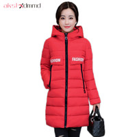 AKSLXDMMD Parkas Plus Size Women's Coats 2017 New Winter Long Jacket Hooded Printed Letters Padded Coats Fashion Overcoat LH1139