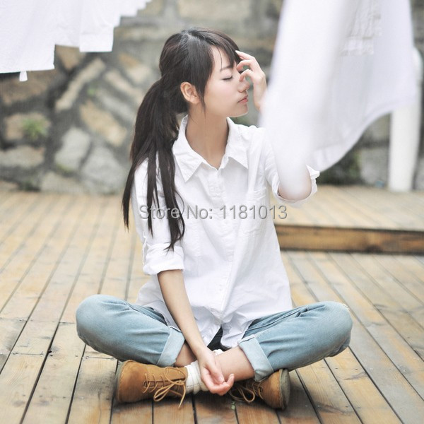 japanese high school uniform Pointed collar / square collar long-sleeved solid white shirt for Anime cosplay