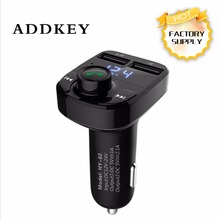 ADDKEY FM Transmitter Bluetooth Car Kit MP3 Player LED Dual USB 4.1A Quick Charger Voltage Display Micro SD TF Music Playing