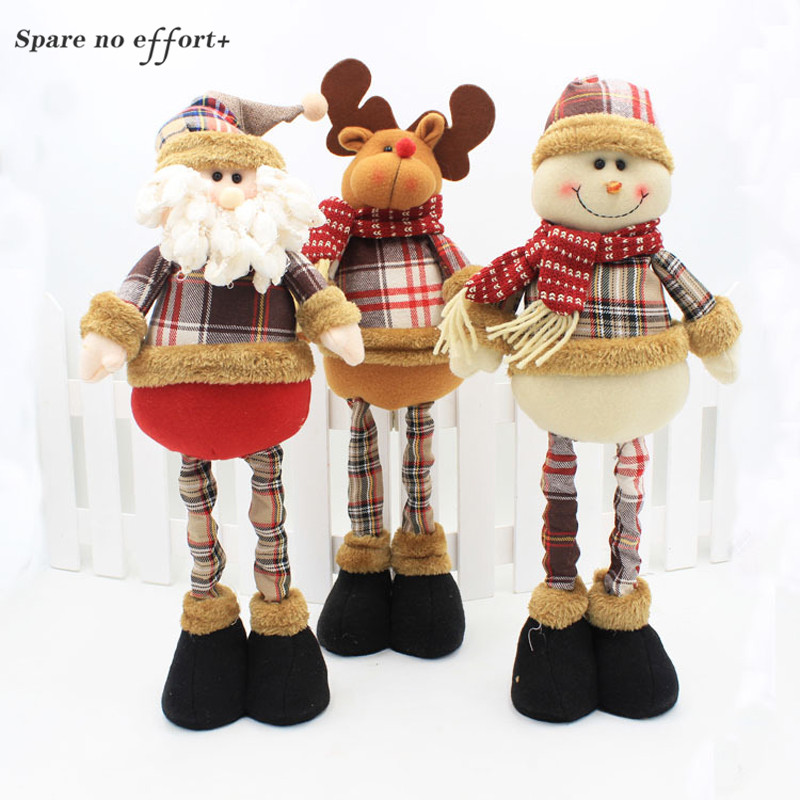 47 cm Santa Claus muñeco de nieve Navidad muñecas decoraciones de Navidad para el hogar retráctil pie juguete cumpleaños fiesta regalo niños Natal